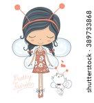 fairy cute girl and little cat... | Shutterstock .eps vector #389733868