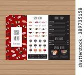 sushi menu design. tri fold... | Shutterstock .eps vector #389735158