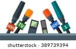 set of flat microphones and... | Shutterstock .eps vector #389739394