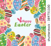 happy easter greeting card and... | Shutterstock .eps vector #389751100