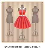 fashionable dress in retro... | Shutterstock .eps vector #389754874