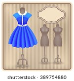 fashionable dress in retro... | Shutterstock .eps vector #389754880