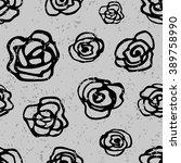 black rose vector pattern. hand ... | Shutterstock .eps vector #389758990
