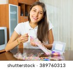 happy young woman makes... | Shutterstock . vector #389760313