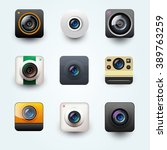 set of photo camera icon.... | Shutterstock .eps vector #389763259