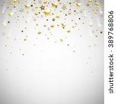 golden falling stars on a light ... | Shutterstock . vector #389768806