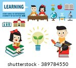 boy and girl studying together. ... | Shutterstock .eps vector #389784550