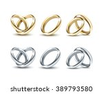 vector set of gold and silver... | Shutterstock .eps vector #389793580