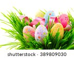 easter colorful eggs and... | Shutterstock . vector #389809030