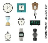 clock and watches vector icons... | Shutterstock .eps vector #389821159