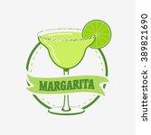 summer margarita cocktail... | Shutterstock .eps vector #389821690