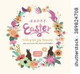 happy easter greeting card | Shutterstock .eps vector #389824708