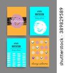 template. set of trendy posters ... | Shutterstock .eps vector #389829589