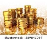 set of golden us dollar coins... | Shutterstock . vector #389841064