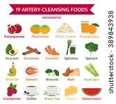 19 artery cleansing foods  info ... | Shutterstock .eps vector #389843938