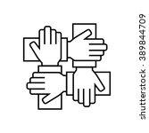 team work icon in thin line... | Shutterstock .eps vector #389844709