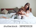 young mom with her 5 years old... | Shutterstock . vector #389850028