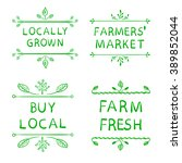 locally grown  farmers market ... | Shutterstock .eps vector #389852044