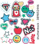 hippie vintage style patches... | Shutterstock .eps vector #389852446