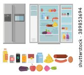 closed and opened refrigerator... | Shutterstock .eps vector #389853694