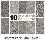 set of ten vector seamless... | Shutterstock .eps vector #389856250