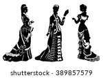 antique dressed ladies.... | Shutterstock .eps vector #389857579