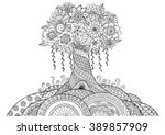 abstract tree on the hill line...   Shutterstock .eps vector #389857909