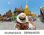 tourist in wat phra kaew in... | Shutterstock . vector #389864050