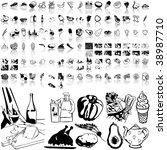 food set of black sketch. part... | Shutterstock .eps vector #38987710