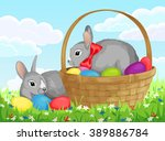 easter bunnies with basket and... | Shutterstock .eps vector #389886784