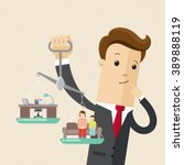 manager or employee holds in... | Shutterstock .eps vector #389888119