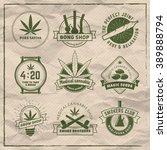 set of vector marijuana smoking ... | Shutterstock .eps vector #389888794