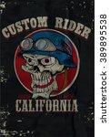vintage biker skull tee print ... | Shutterstock .eps vector #389895538