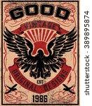 vintage americana eagle graphic  | Shutterstock .eps vector #389895874