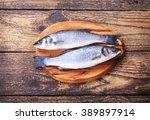 Fresh Fish Sea Bass On Wooden...
