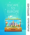 travel to europe. vertical... | Shutterstock .eps vector #389901400