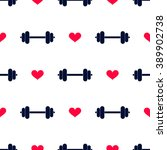 dumbbell and hearts. seamless... | Shutterstock .eps vector #389902738