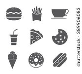 fast food icon set | Shutterstock .eps vector #389906083