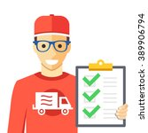 courier and orders list. man... | Shutterstock .eps vector #389906794