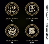 vintage monograms   4 sets  ... | Shutterstock .eps vector #389916388