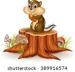 Cartoon Chipmunk Holding Peanu...