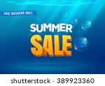 summer sale poster. 3d... | Shutterstock .eps vector #389923360