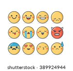 set of vector emoticons in... | Shutterstock .eps vector #389924944