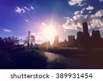 lower manhattanat sunset as... | Shutterstock . vector #389931454