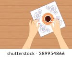 vector illustration of a woman... | Shutterstock .eps vector #389954866