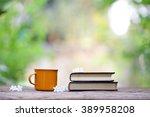 notebook  and vintage orange... | Shutterstock . vector #389958208