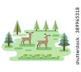 two deers in forest. wildlife... | Shutterstock .eps vector #389965318