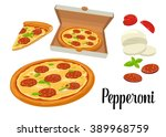 whole and slices pizza... | Shutterstock .eps vector #389968759
