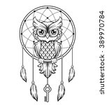 dream catcher black and white... | Shutterstock .eps vector #389970784
