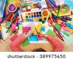 child cut applique top view.... | Shutterstock . vector #389975650